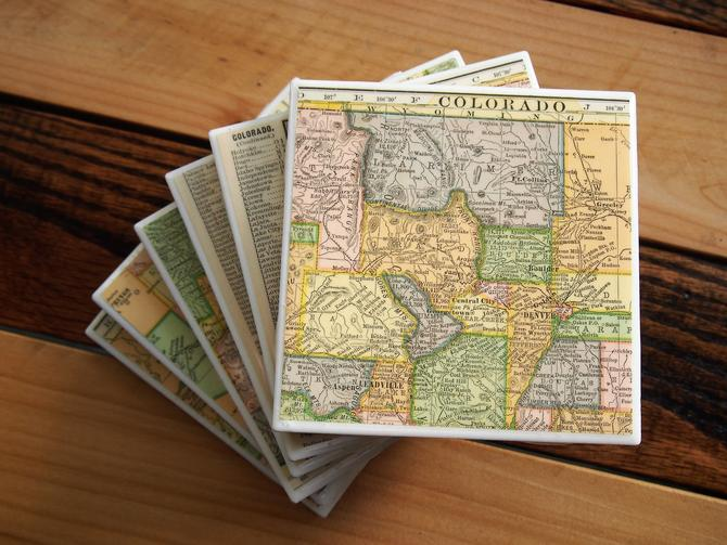 1909 Colorado Handmade Repurposed Vintage Map Coasters Set of 6 - Ceramic Tile - Repurposed 1900s Hammond Atlas - One of a Kind by allmappedout