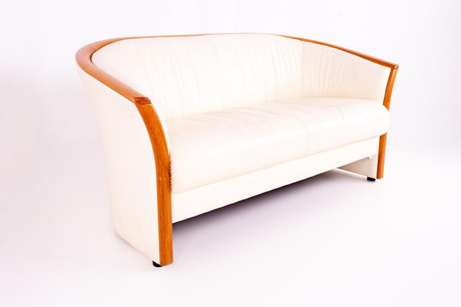 Ekornes Mid Century Teak and White Leather Sofa by ModernHill