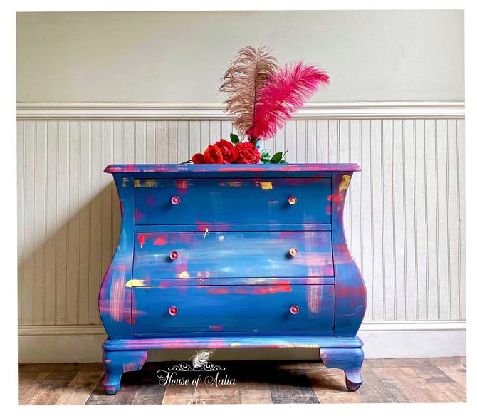 Multicolor Blue Boho French Bombe Chest. Plaid Vintage Chest. Entryway Accent Table. Boho, Eclectic, French Country Home. Bedroom. by HouseofAalia