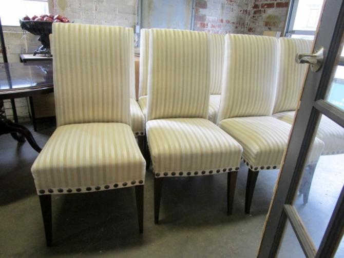 SET OF EIGHT CUSTOM DINING CHAIRS WITH GLANT FABRIC