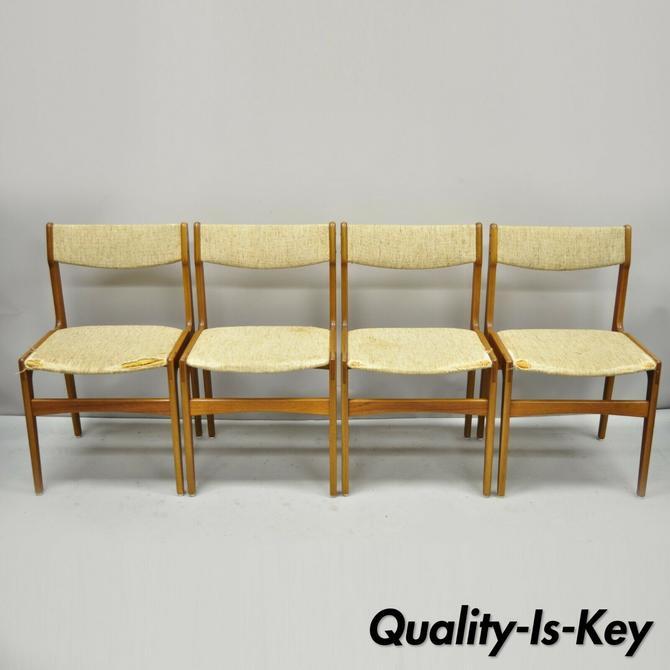Set of 4 Mid Century Danish Modern Teak Wood Dining Room Chairs Attr. Erik Buch
