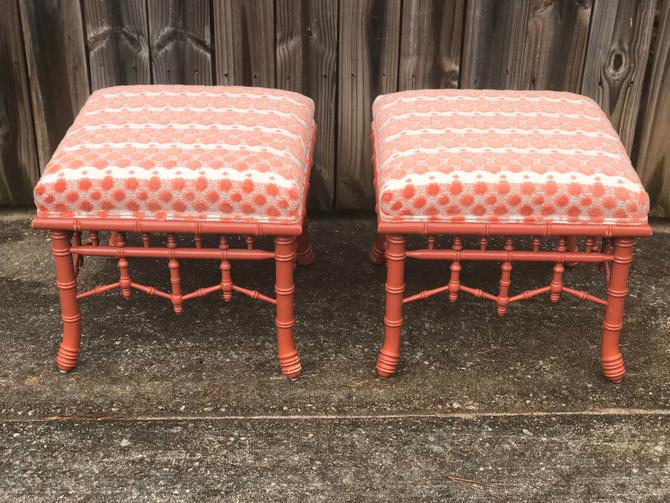 Century furniture faux bamboo stools / ottomans - a pair by HolbrookBazaar