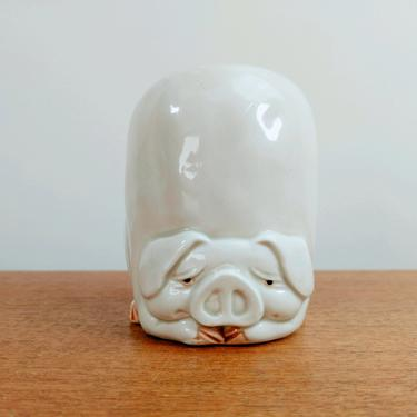 Vintage Fitz & Floyd Pig Porky Holder | Toothbrush Pencil Holder | Handpainted Art Pottery | Japan by TheFeatheredCurator