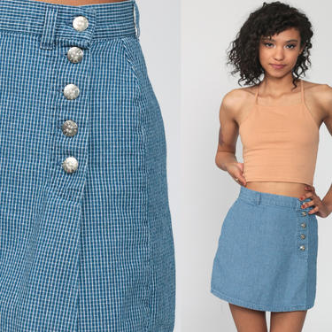 Blue Wrap Skort Checkered Culotte Skirt Baggy Shorts 90s High Waisted Jean Skirt Wide Leg Grunge Vintage Hipster 1990s Short Extra Small xs by ShopExile