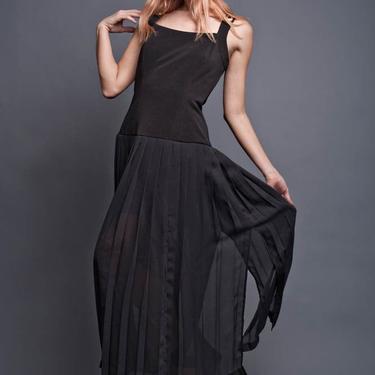 scarf dress, sheer long black dress Vintage 80s Maxi Pleated Flowy Panels Black Tank strappy Gown M 8 MEDIUM by shoprabbithole