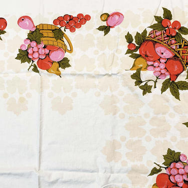 Vintage Country Farm Tablecloth Strawberry Print Pattern Mid-Century Retro Table Cloth Dining Kitchen Home Decor Linen Square Fruit Basket by CheckEngineVintage