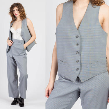 70s Menswear Houndstooth Vest & Pants Suit Set - Men's Medium | Vintage Blue Gray High Waisted Trousers Two Piece Outfit by FlyingAppleVintage