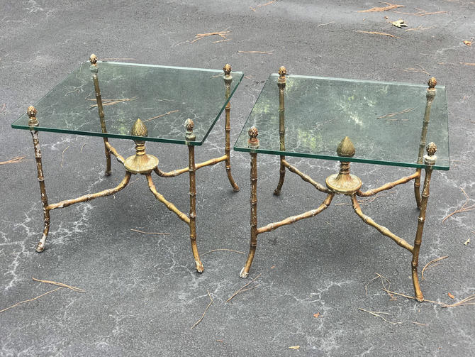 Pair vintage chinoiserie faux bamboo side tables by HolbrookBazaar