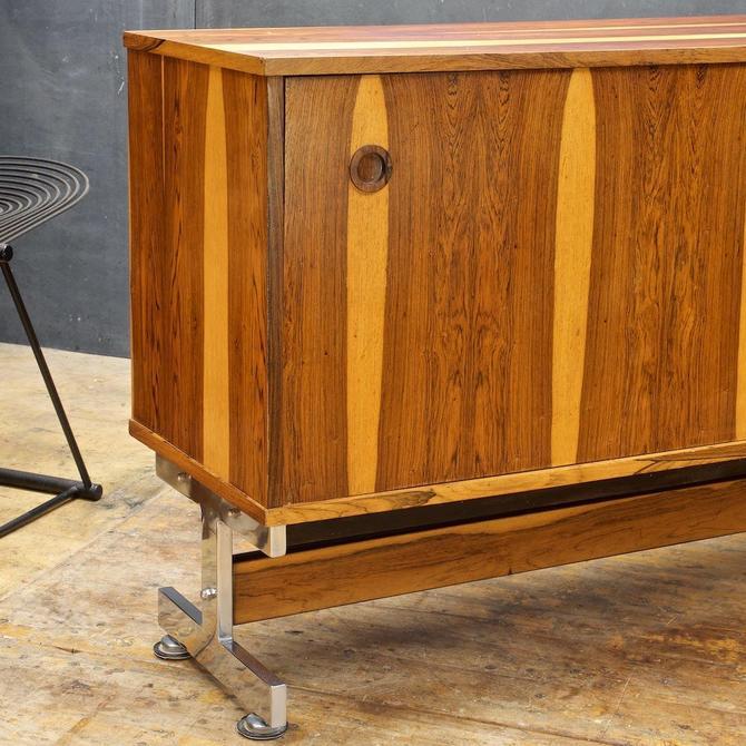 Rosewood Danish Brazil Mid-Century Credenza Cabinet on Steel Chrome Norreklit Baughman Protzman Zalszupin Fabio Lenchi