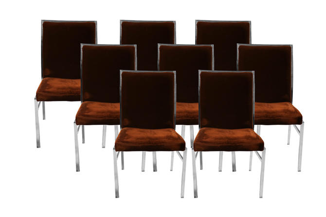 Eight Milo Baughman Style Mid Century Chrome Dining Chairs Pierre Cardin Dillingham by Marykaysfurniture