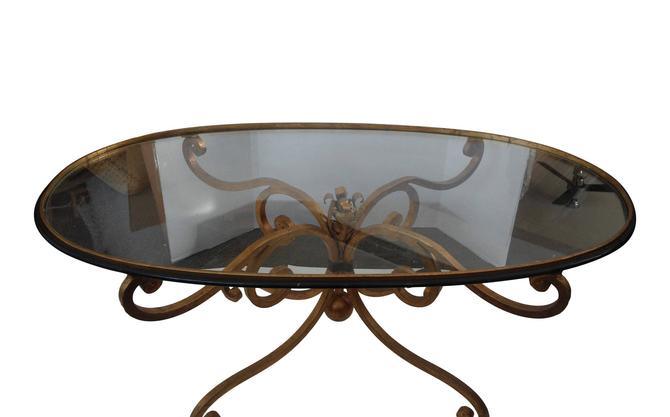Hollywood Regency Italian Gilt Metal Coffee Table with Glass Top 1950s Glam by 3GirlsAntiques