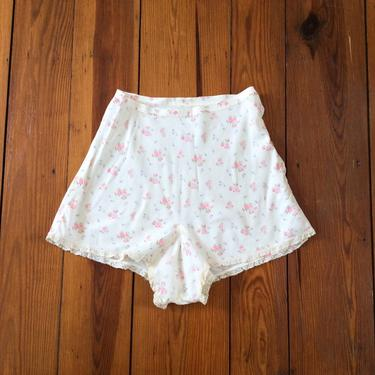 30s Floral Rayon Tap Pants / 1930s Vintage Shorts / Medium / 27 inch waist by CheshireVintageShop
