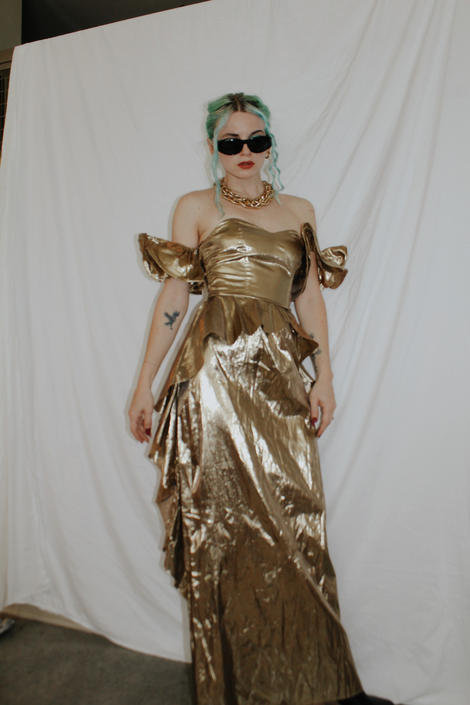 Vintage 1980s | Gold Lame Goddess Gown by TheMetalRomanticShop