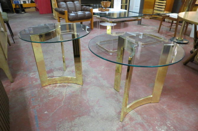 Vintage MCM pair of brass and glass side tables