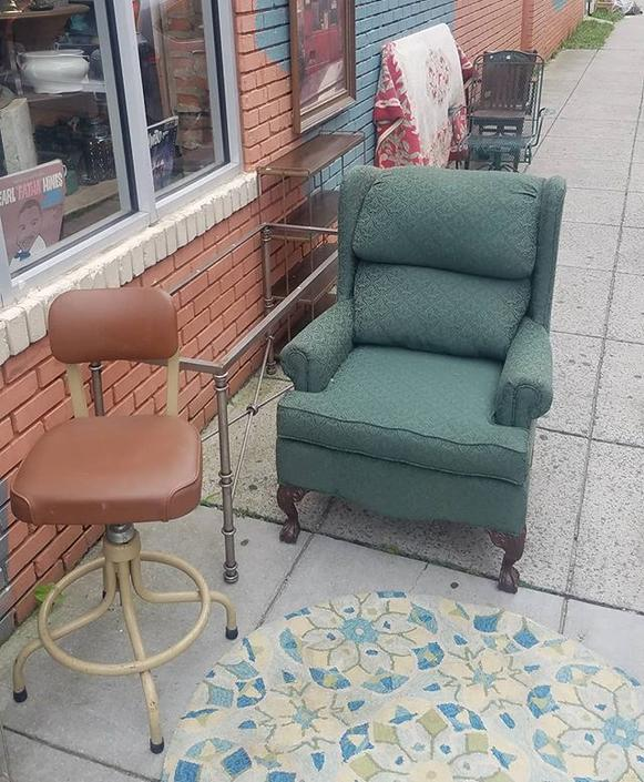 Industrial Stool, $59. Green Chair, $84.