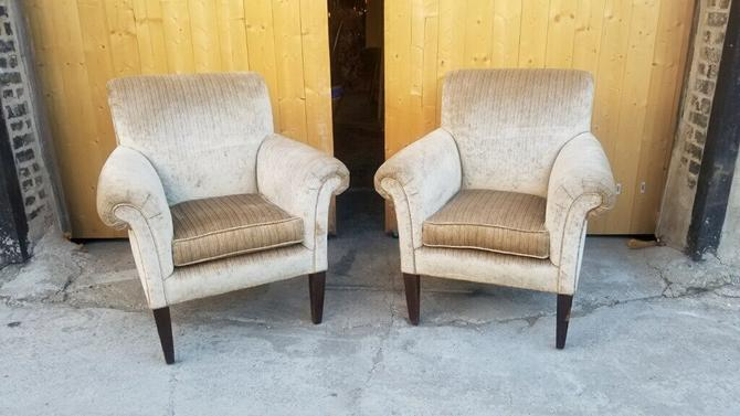 Vintage Pair of Designer Flared Arms Arched Back Velvet Club Chairs