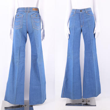 70s high waisted denim bell bottoms jeans 30  / vintage 1970s WILD OATS flares pants sz 11 by ritualvintage
