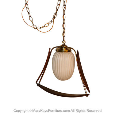 Mid Century Sculpted Hanging Swag Lamp Chandelier Pendant Light by Marykaysfurniture