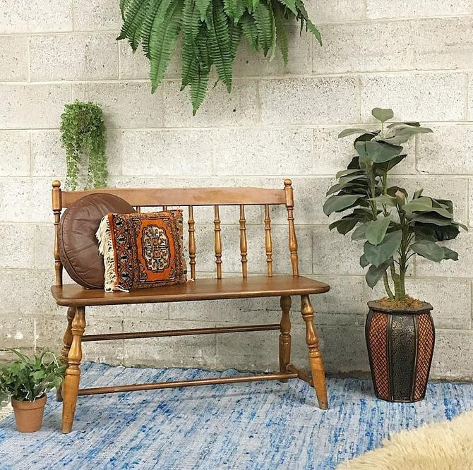 LOCAL PICKUP ONLY Vintage Bench Retro 1970s Colonial Style + Medium Brown Color + Spindle Bar Back + Spindle Legs + Wood Bench for Entryway by RetrospectVintage215