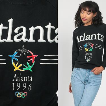 Atlanta Olympics Shirt 1996 USA Olympics Sweatshirt Crewneck Sweatshirt 90s Sweatshirt Black Slouchy 1990s Vintage Sweat Shirt Small by ShopExile