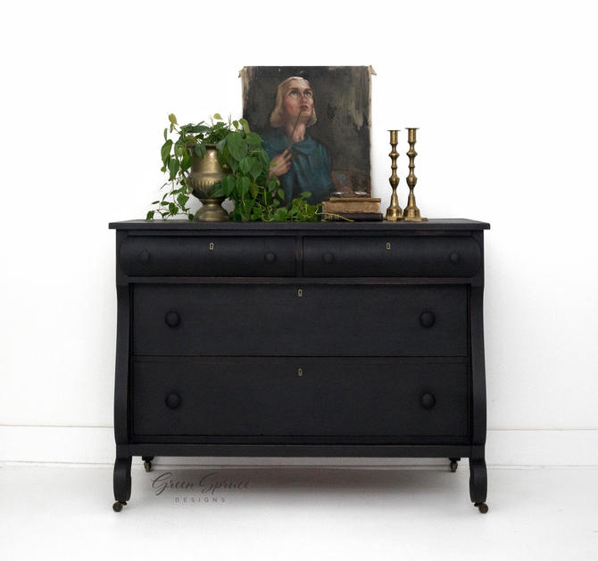 Black Empire Style Vintage Chest of Drawers, Black Four Drawer Dresser, Bureau, Buffet Table, Server, Sideboard on Casters by GreenSpruceDesigns