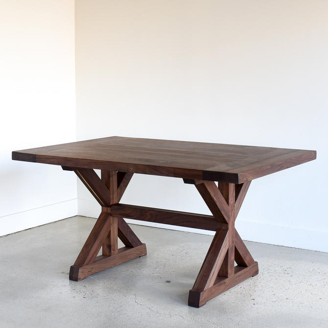 Trestle Table / Farmhouse Kitchen Table / Solid Walnut Dining Table by wwmake