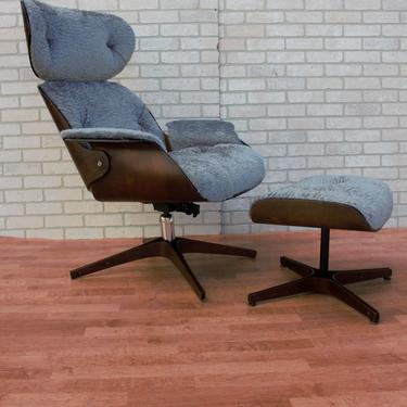 Mid Century Modern George Mulhauser for Plycraft Mr. Chair & Ottoman Newly Upholstered - 2 Piece Set