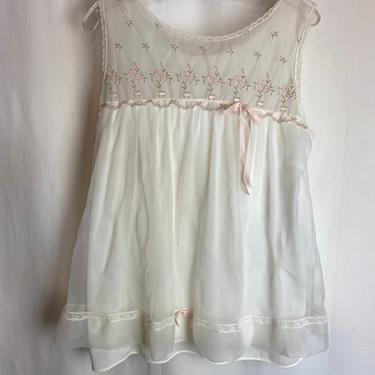 VTG Babydoll pajama set~ sheer PJ SET~ bloomer style panties~ lacy layered top~ pinup Mod~ pink satin bows size S/M by HattiesVintagePDX