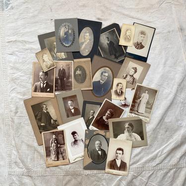 25 Antique Studio Portraits Photo Lot Midwest Studios Decor by NorthGroveAntiques
