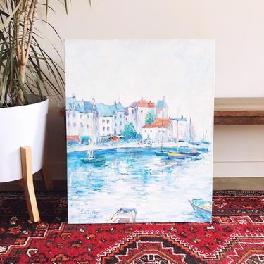 Vintage Impressionist European Mediterranean Coast Oil Painting by TheDistilleryVintage