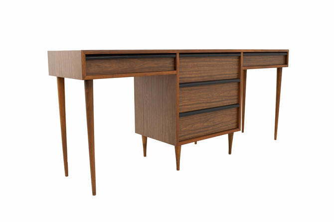 Mid Century Walnut & Formica Double Desk - mcm by ModernHill