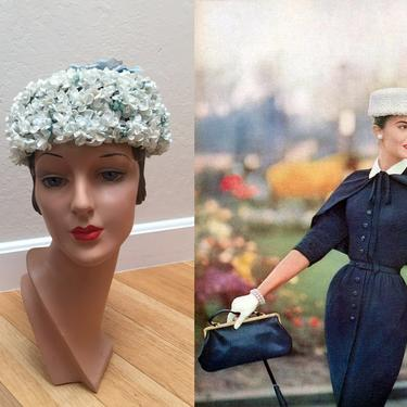 Strolling in Kensington Park - Vintage 1950s Ice Blue Forget Me Knot Floral Pill Box Hat w/Rose Crown by RoadsLessTravelled2
