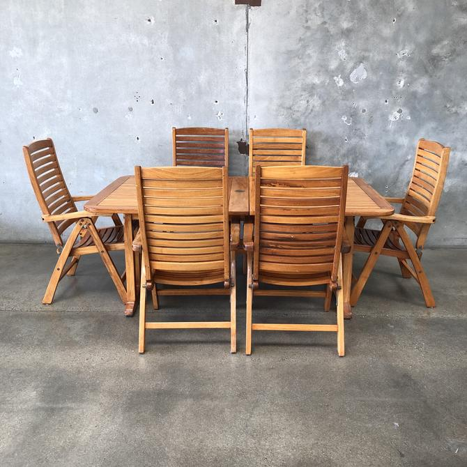 Teak Expandable Table & Six Reclining Chairs with Brass Hardware