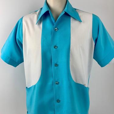 1970'S-80's Bowling Shirt - 2-Tone Blue & White - All Rayon  - 2 Concealed Pockets - Men's Size Medium by GabrielasVintage