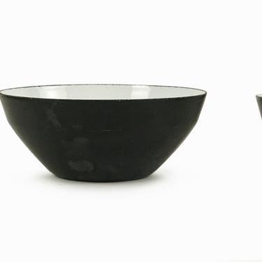 Danish Krenit Enameled Bowl Herbert Krenchel Black Small by VintageInquisitor