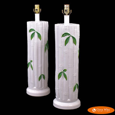 Pair of Faux Bamboo White Leaves Lamps
