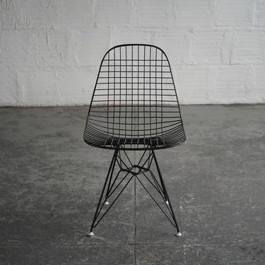 Eames for Herman Miller Black Wire Chairs on Eiffel Base