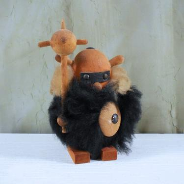 Vintage Viking Figurine With Mace Helmet And Lots Of Hair Wooden Viking Toy From Sweden By Mostlymidmodern