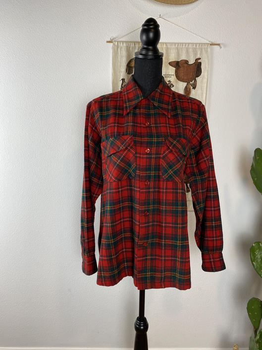 Vintage PENDLETON Wool Button Up Plaid Flannel Classic Red & Green by DesertCactusVintage