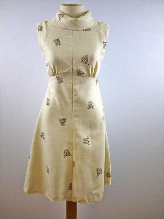 Cream and Brown Bouquet Cowl Neck Dress by citybone