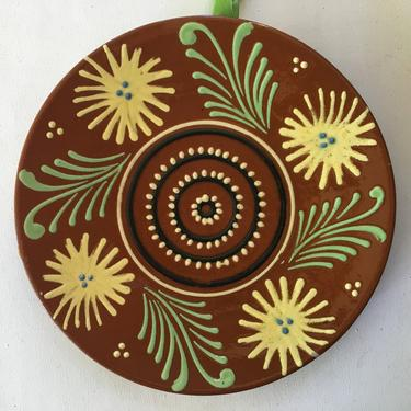 Vintage Red Clay Pottery Plate, Southwestern, Farmhouse, Floral Design by luckduck