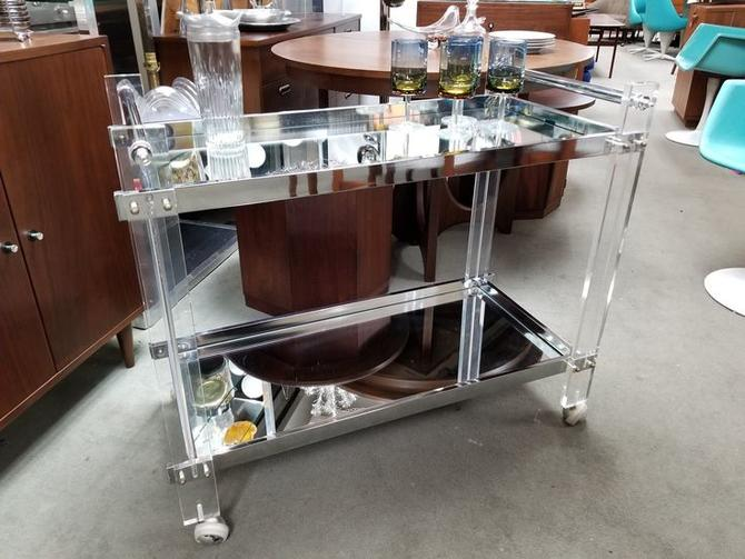Mid-Century Modern lucite and mirror bar cart