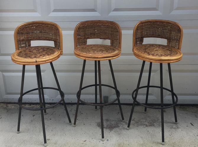 Vintage Set Of Three Jute Bar Stools Pickup And Delivery