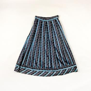 80s Geiger Striped Floral Circle Skirt / Pastel / Baby Blue / Pink / Black / Full Skirt / Tea Length / Small / 50s / Prairie / Cotton / S / by shoptrashdotnet