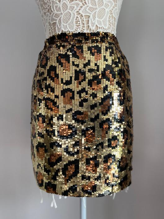 Leopard Sequin A.J. Bari Skirt by InstantVintage78