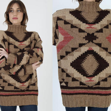 Vintage Ralph Lauren Country Sweater / POLO Southwestern Print Turtleneck / Brown Native American Knit Jumper / 90s Aztec Wool Sweater by americanarchive