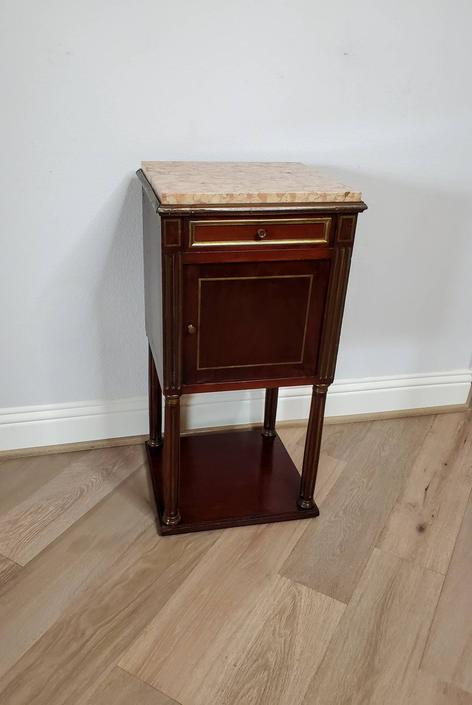 19th Century French Louis XVI Style Mahogany Bedside Cabinet Nightstand Table, Stamped Vachette Frères by LynxHollowAntiques