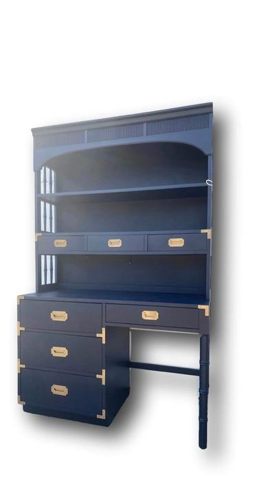 """desk and hutch . campaign style. navy and brass. """" customize too"""" by Dianemarieshome"""