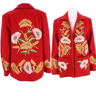 40s MEXICAN poppy embroidered wool jacket / vintage 1940s 1950s red wool floral flowers souvenir tourist jacket MEXICO by ritualvintage
