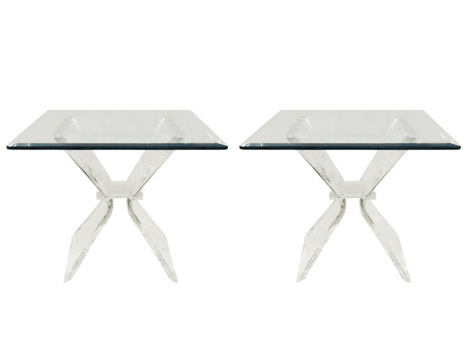 Pair of Lucite and Glass Sculptural End Tables 1970s